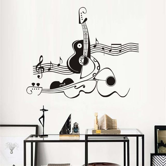 Stickers Creative Abstract Guitar And Violin Vinyl Wall Sticker