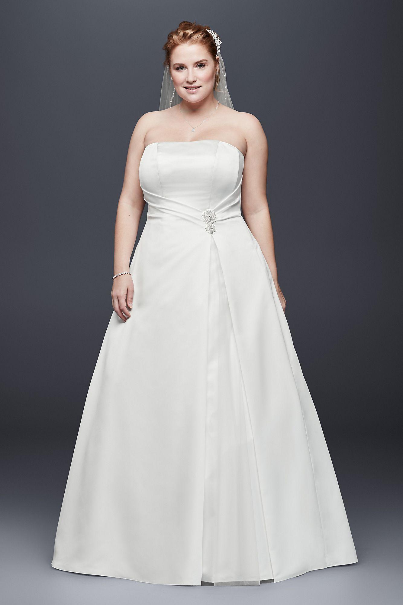 Plus size wedding dress designers  Satin Plus Size ALine Wedding Dress with Applique Style OP