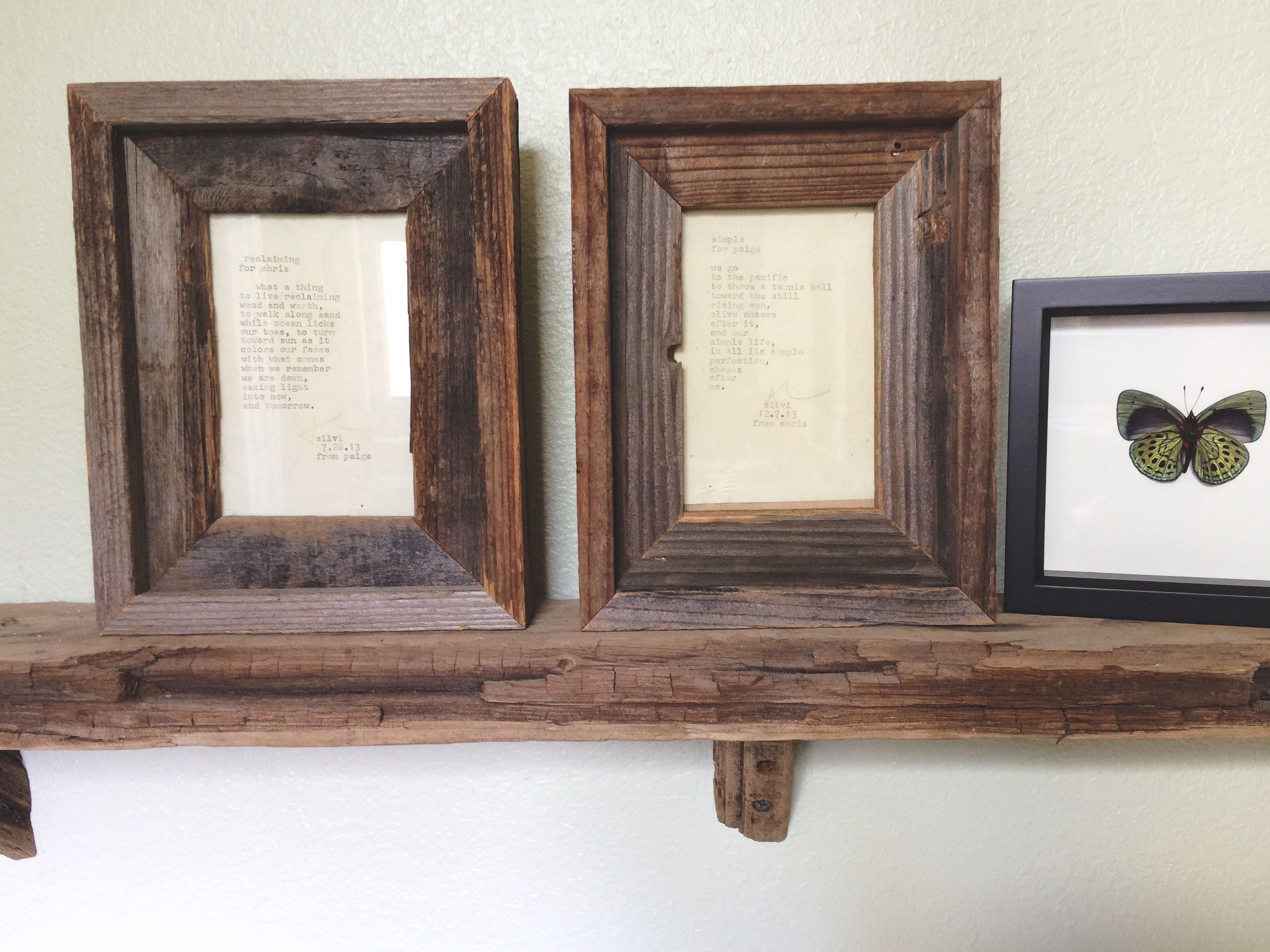 Hand Typed Love Poems To Each Other Reclaimed Wood 4x6 Frames