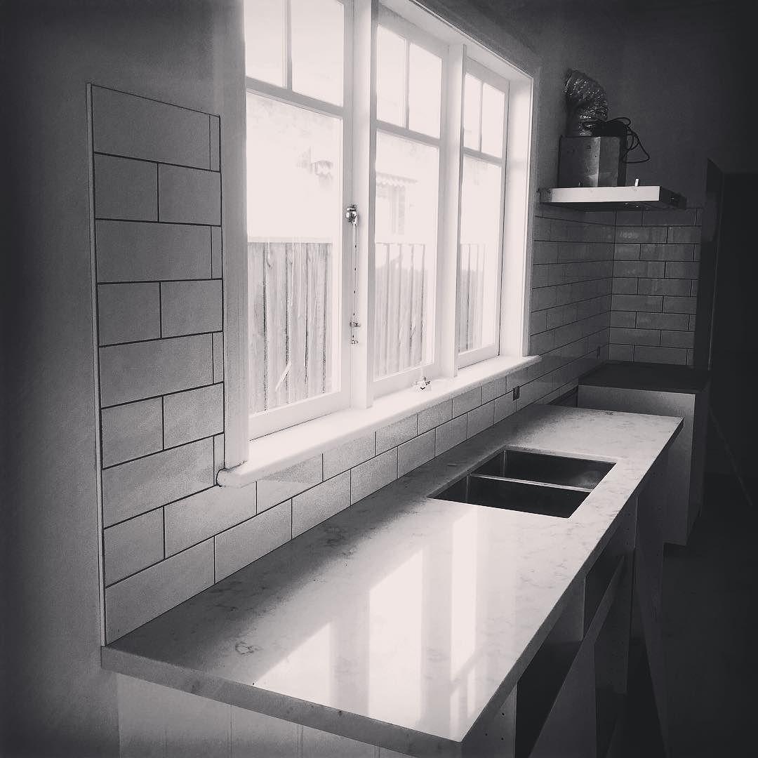 Kitchen with classic subway tiles carrara marble work tops kitchen with classic subway tiles carrara marble work tops tileart tileporn dailygadgetfo Choice Image