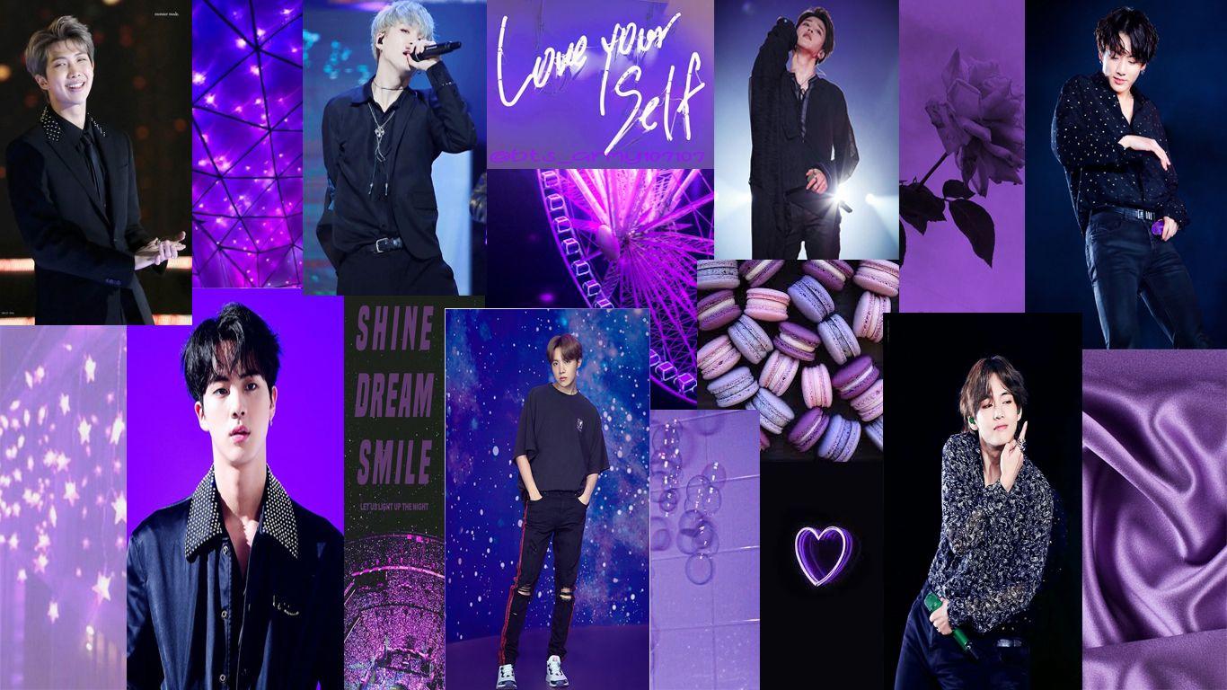 Bts S Ot7 Purple Aesthetic Wallpaper Purple Aesthetic Aesthetic Wallpapers Wallpaper Bts purple aesthetic wallpaper desktop
