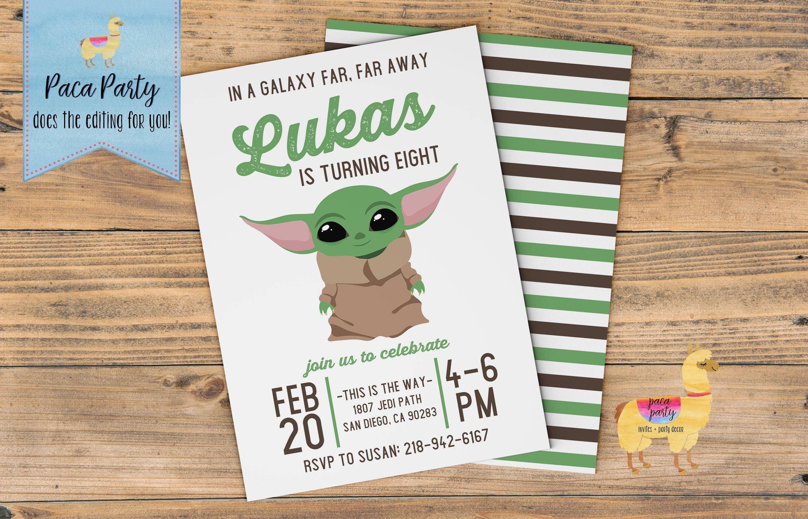 Custom Printed and cut Baby Yoda Birthday Invitations Yoda Birthday InvitationsPRINTSCute KidsFree Shipping
