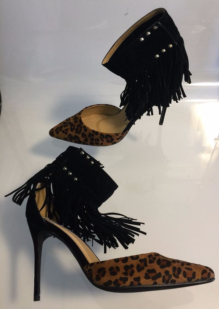 Ultra Sexy Bella Luna Fringed Ankle Strap Leopard Heels - 8.5M #BellaLuna #PumpsClassics #Clubwear
