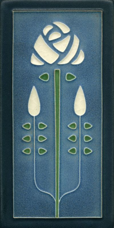 """Long Stem in Denim"" Long Ceramic Tile, Motawi Tileworks   /   mtw"