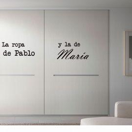 Vinilo personalizado para el y ella para el armario - Vinilos personalizados pared ...