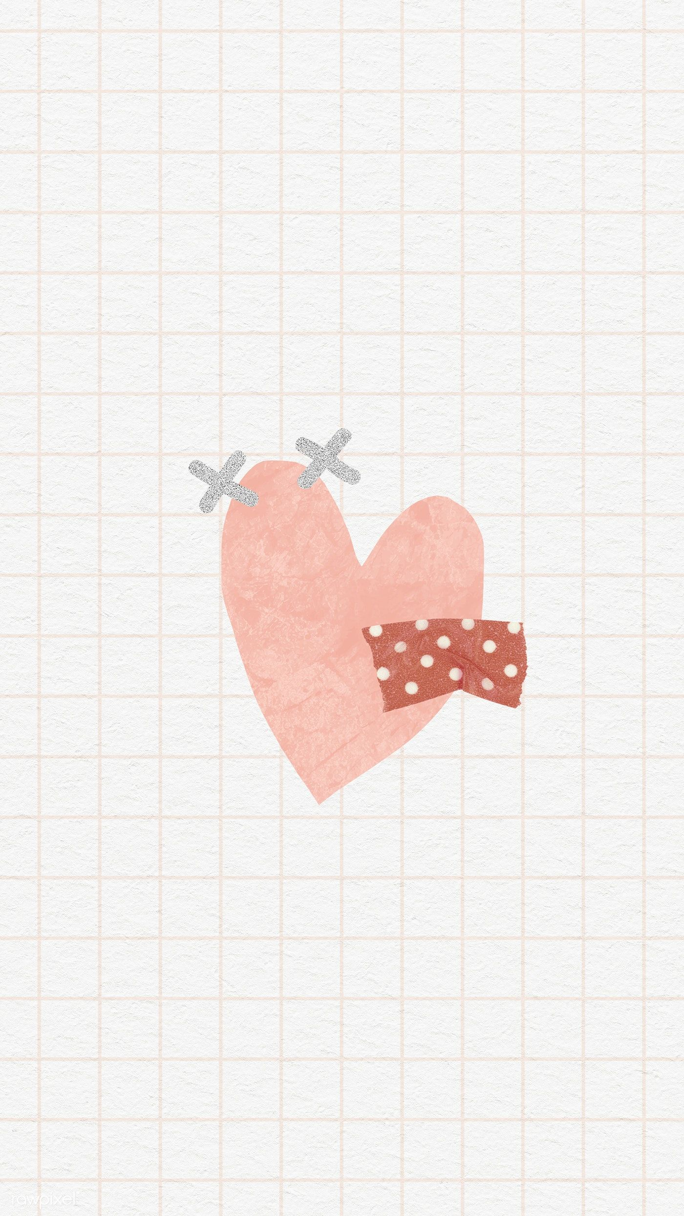 Download premium illustration of Cute doodle heart on grid