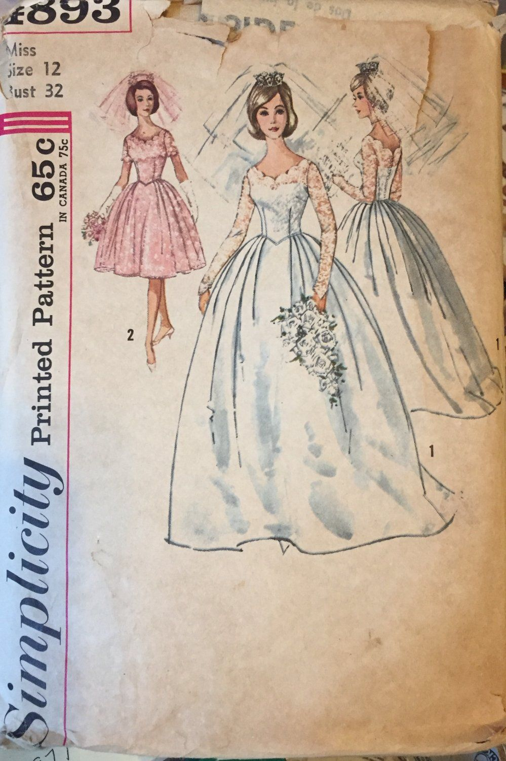 Us simplicity wedding gown sewing pattern size bust
