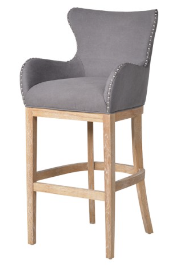 Grey Bar Stool With Ring Back And Oak Legs Contemporary French Bar Stools With Backs Kitchen Bar Stools Stools With Backs