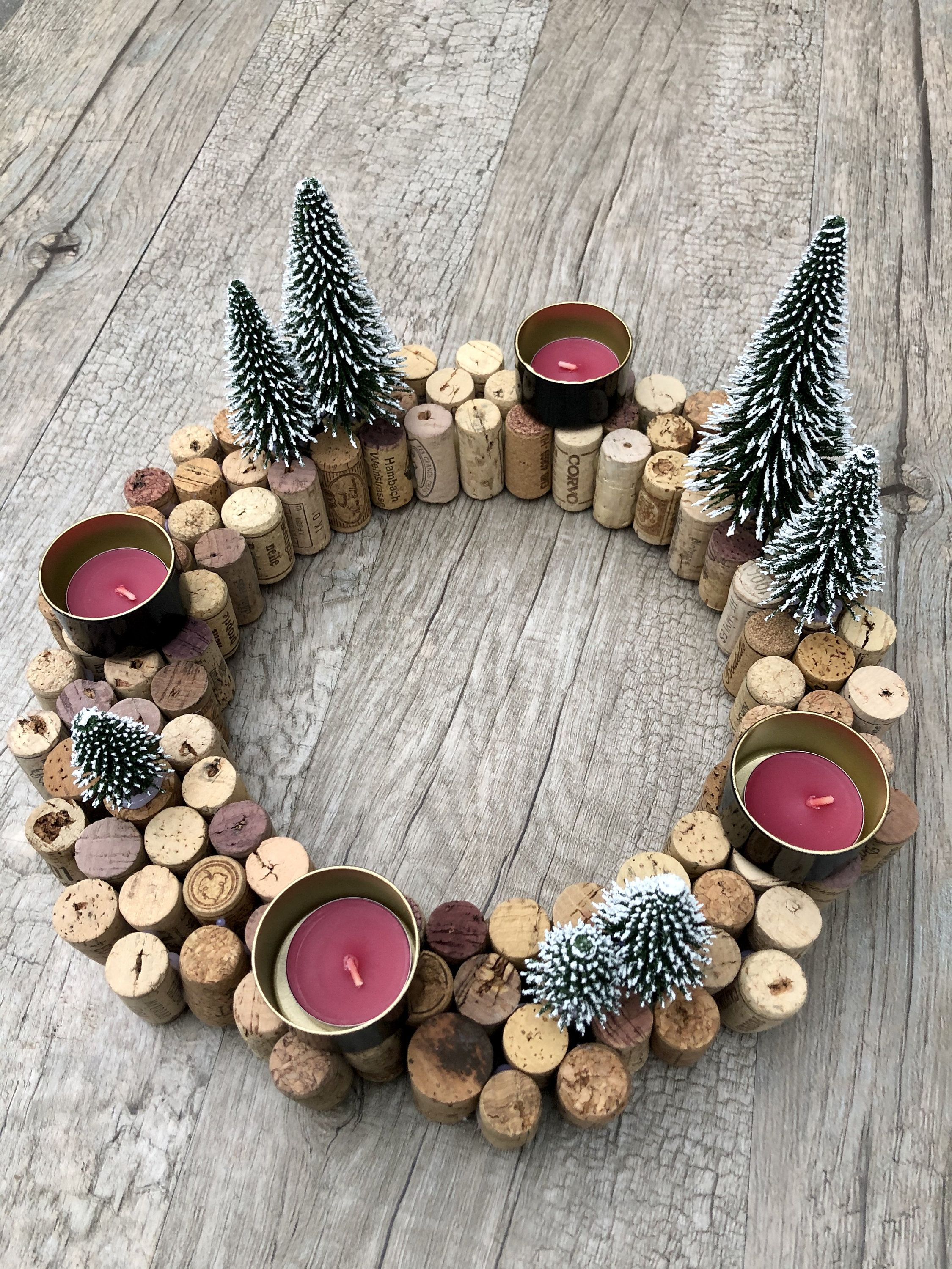 Upcycling advent wreath made of cork
