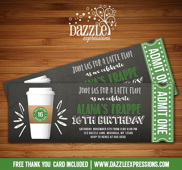 Free Birthday Starbucks ~ Printable chalkboard coffee latte ticket birthday invitation inspired starbucks party frappe