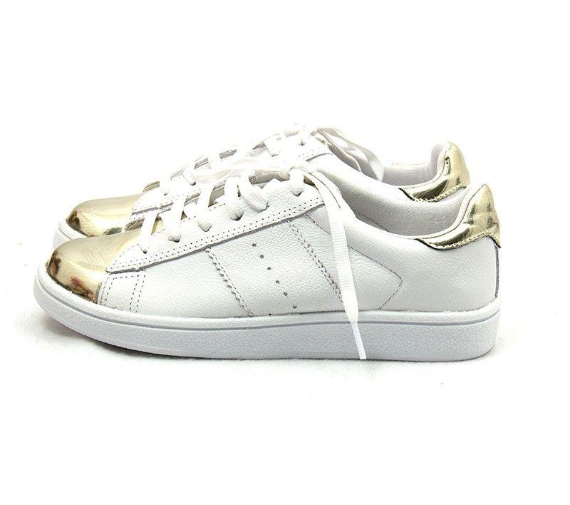7acd7509f79 Ana Mello Calçados Femininos - Tênis Branco de Couro com Detalhe Champagne  - Sapatênis