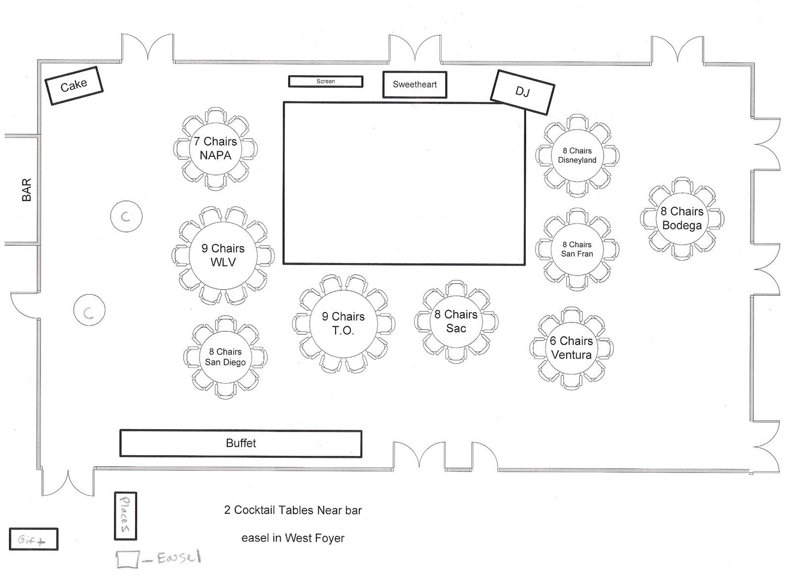 Sample seating diagram and floor plan for Wedding reception layout