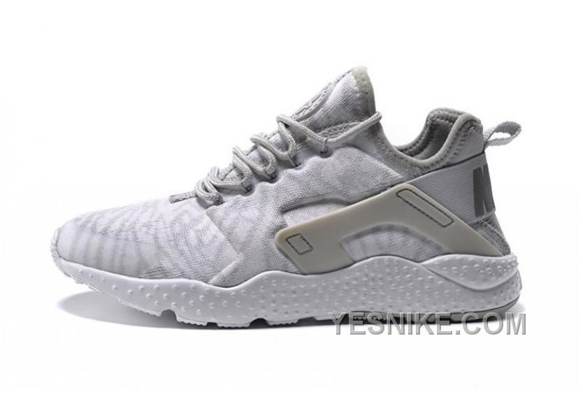 6da8256743460 Mens Womens Nike Air Huarache Run Ultra Running Shoes Jacquard White  Metallic Silver Wolf Grey 818061 100