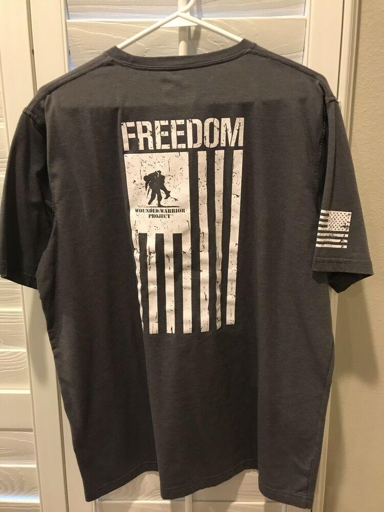 Under Armour Heat Gear Mens Large Gray Freedom American Flag T Shirt American Flag Tshirt Long Sleeve Tshirt Men Flag Tshirt