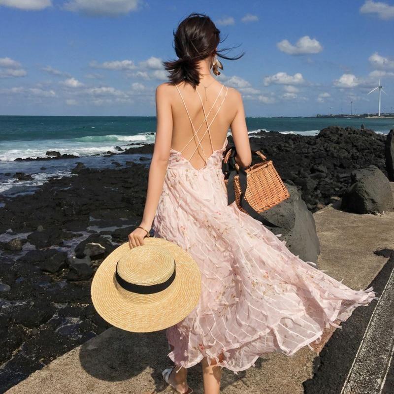 Women Pink Sundress Summer Tropical Vacation Sleeveless