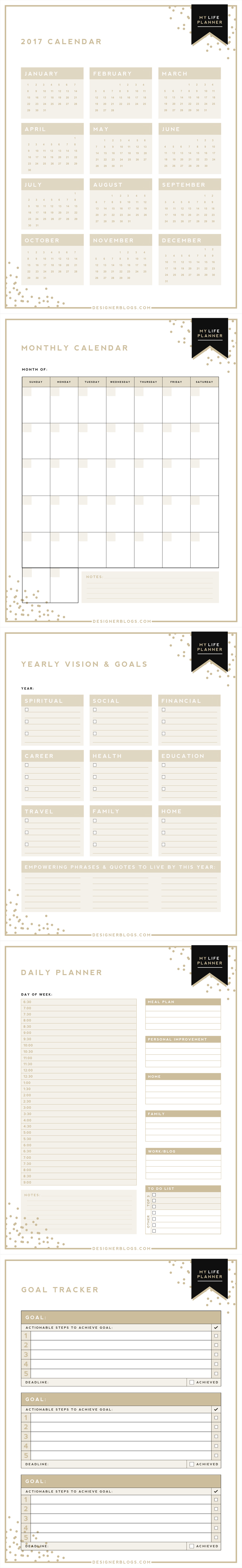 Calendar Year Goals Record : Calendar monthly yearly vision goals