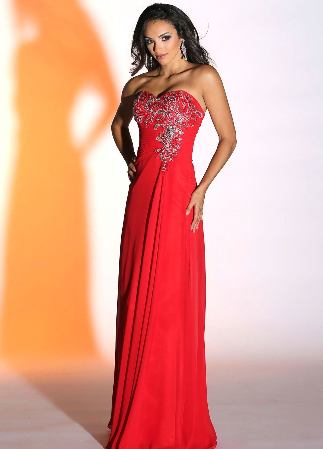 Long red sweetheart neckline strapless prom dress with bling detail