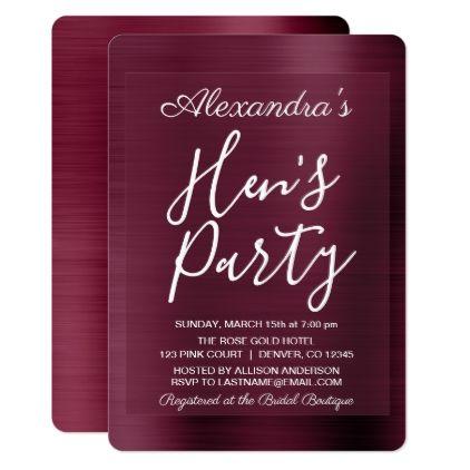 Burgundy Bachelorette Girly Hen\'s Party Card | Bachelorette parties ...