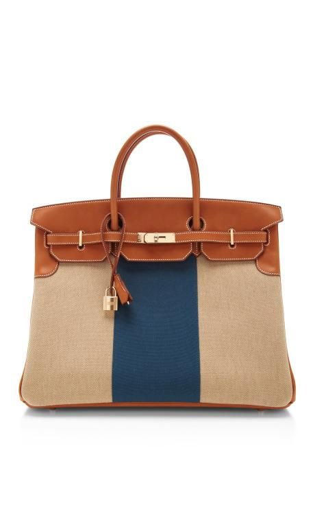 9cbd3638a3 Hermes 40Cm Natural Barenia Leather And Canvas Limited Edition Flag Birkin   hermes  flag
