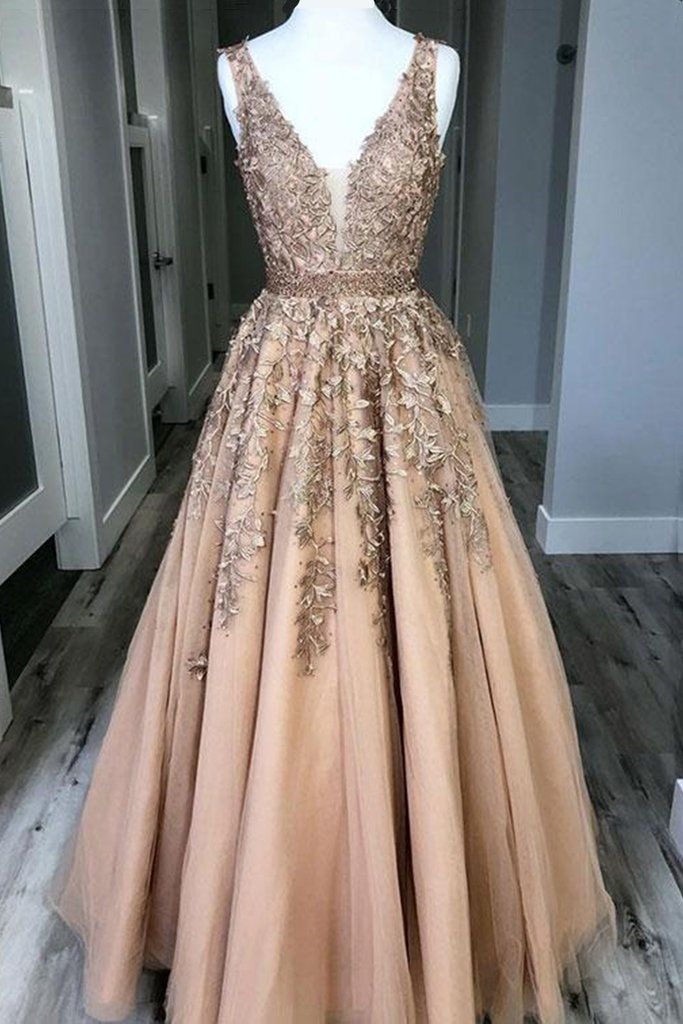 Champagne custom made v neck tulle lace long prom dress, formal dress #promthings