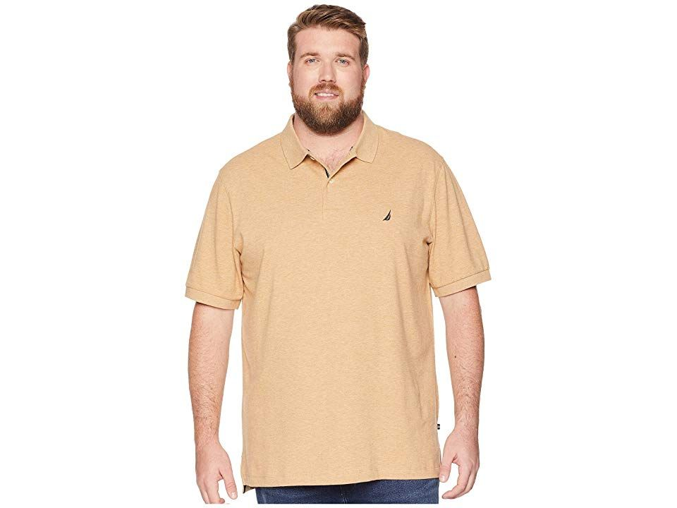 2e741002 Nautica Big & Tall Big Tall Short Sleeve Solid Deck Shirt (Desert Camel  Heather
