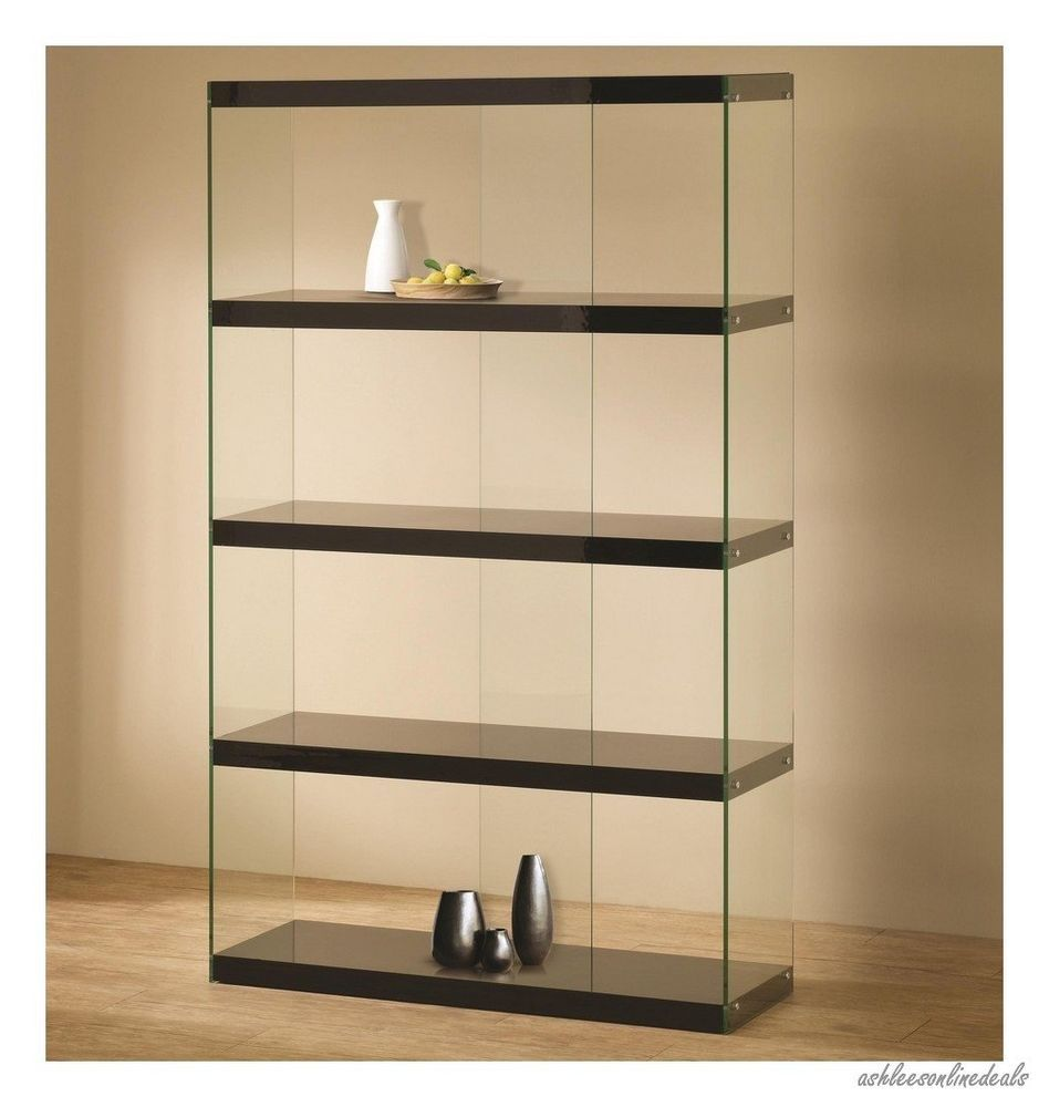 New black glass curio furniture display case cabinet - Glass corner shelf for living room ...