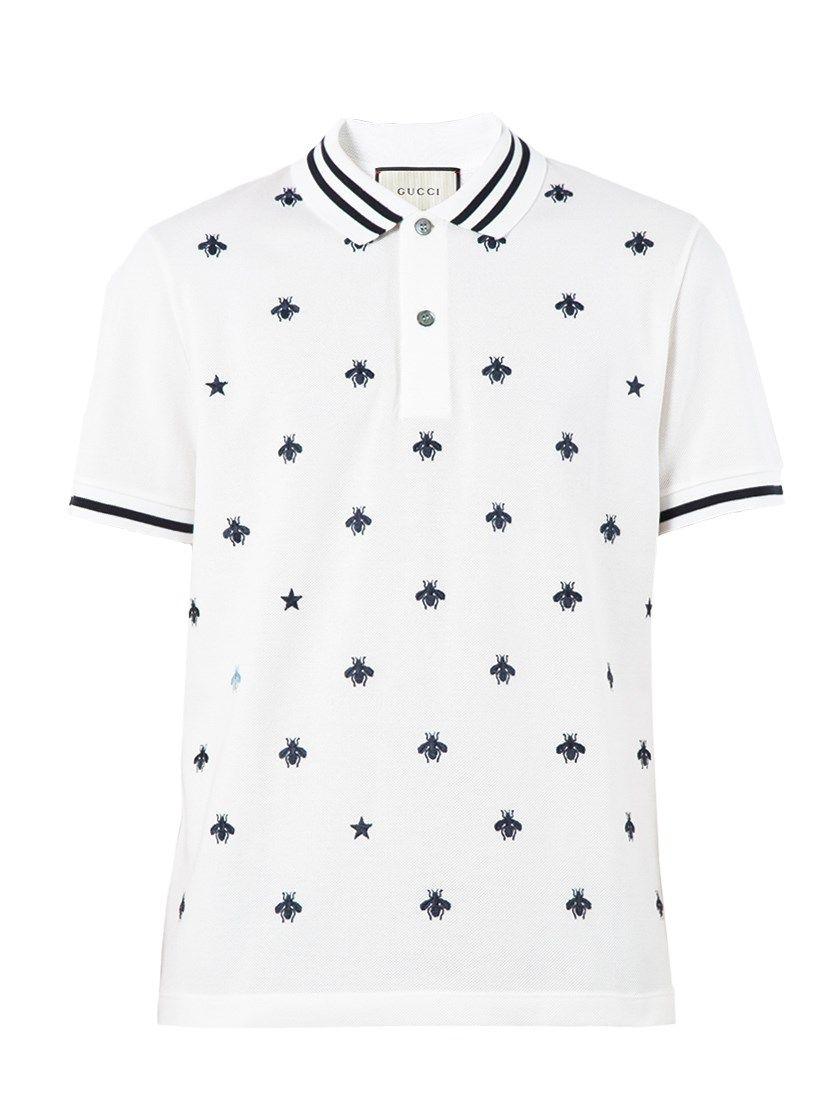 bafa02cd GUCCI Bees And Stars Embroidered Polo Shirt. #gucci #cloth #polo shirts