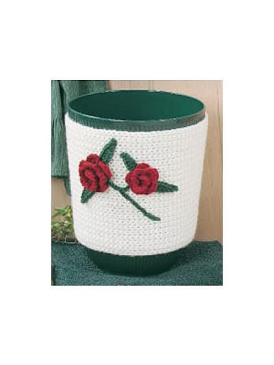 Crochet for the Home - Crochet Decor Patterns - Simply Roses Trash Can