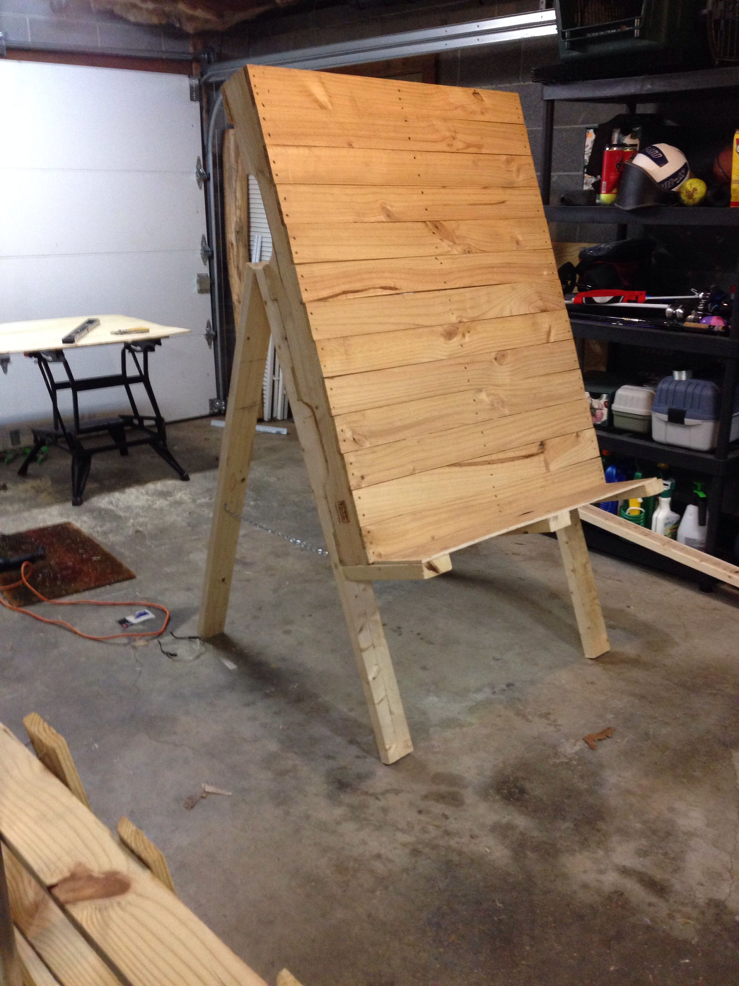 Backboard For Archery Target Will Hold Pinestraw Made From A Pallet Found Lumber Diy Archery Target Archery Range Archery Target