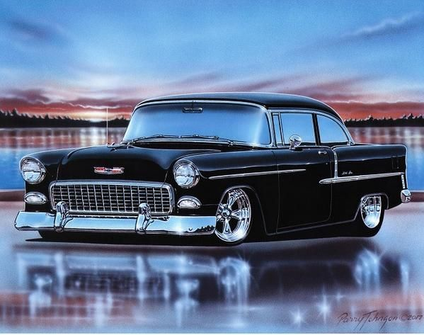 1955 Chevy Bel Air 2 Door Sedan Hot Rod Car Art Print 11×14 Poster