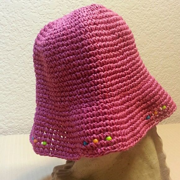 "Pink summer hat with cute beads! Says one size but is on the smaller side only 7"" inside. Accessories Hats"