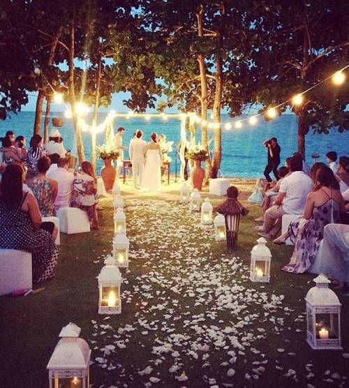 Night Beach Wedding Ceremony Ideas: Beach Wedding With Lights