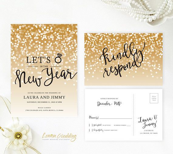 new years eve wedding invitation with rsvp card gold sparkly wedding invitations lets ring in