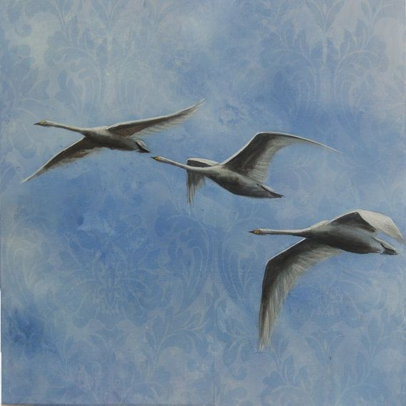 Flying Pattern Bewicks Swans flying painting by Suzy Sharpe