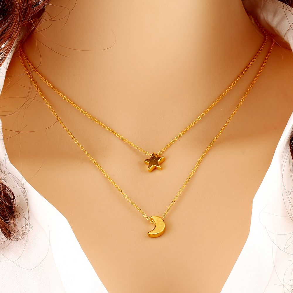 Women/'s Heart Blue Beads Charm Gold Plated Chain Pendant Multi-layer Necklace ZP