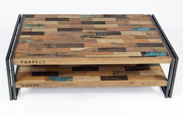 Table Basse Factory Samudra Fer Et Lattes De Bois De Bateau Recycle Table Basse Bois Table Basse Table Basse Style Industriel