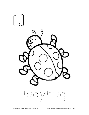 Letter L Coloring Book - Free Printable Pages | Ladybug coloring ...