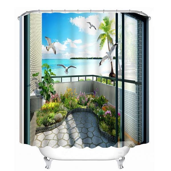 Beautiful Scene in the Balcony Print 3D Bathroom Shower Curtain #bath #shower #curtains