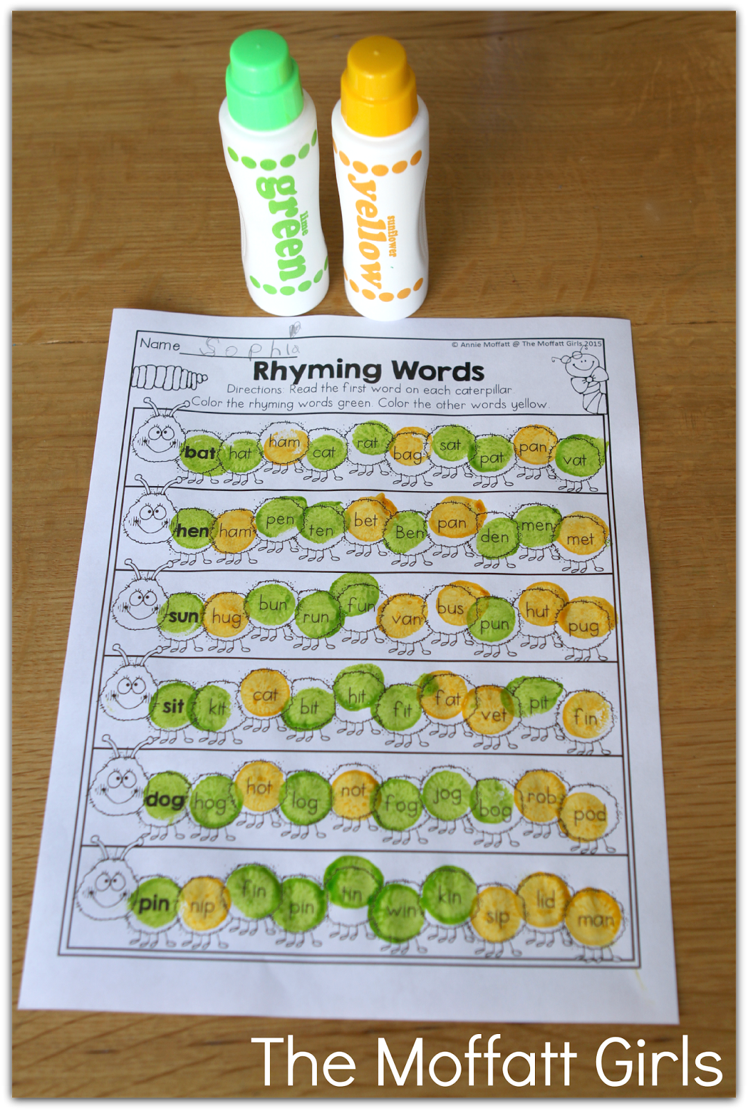 Rhyming Word Caterpillar Dot Mark The Words That Rhyme