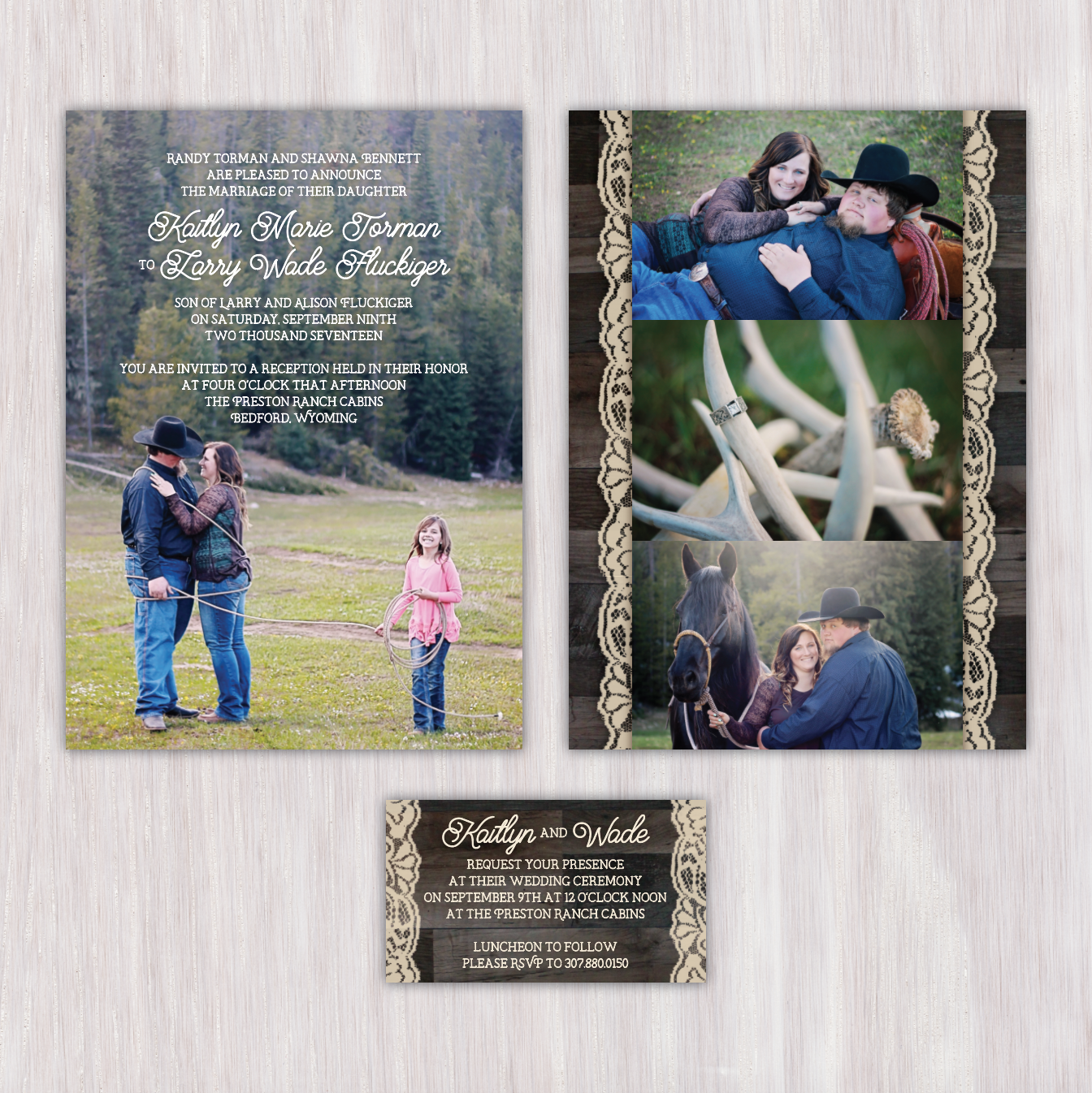 Wyoming Rustic Photo Background Invitation With Barn Wood And Lace Collage Back Matching Ceremony
