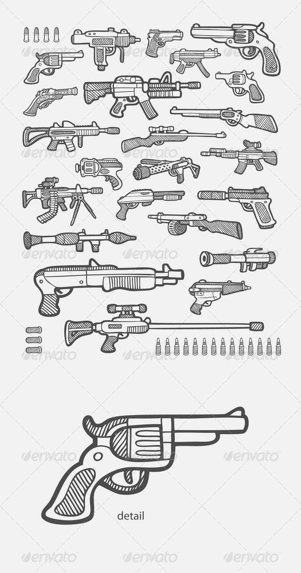 Gun Icons Sketch | draw 2 in 2018 | Armas, Pistola dibujo, Arte