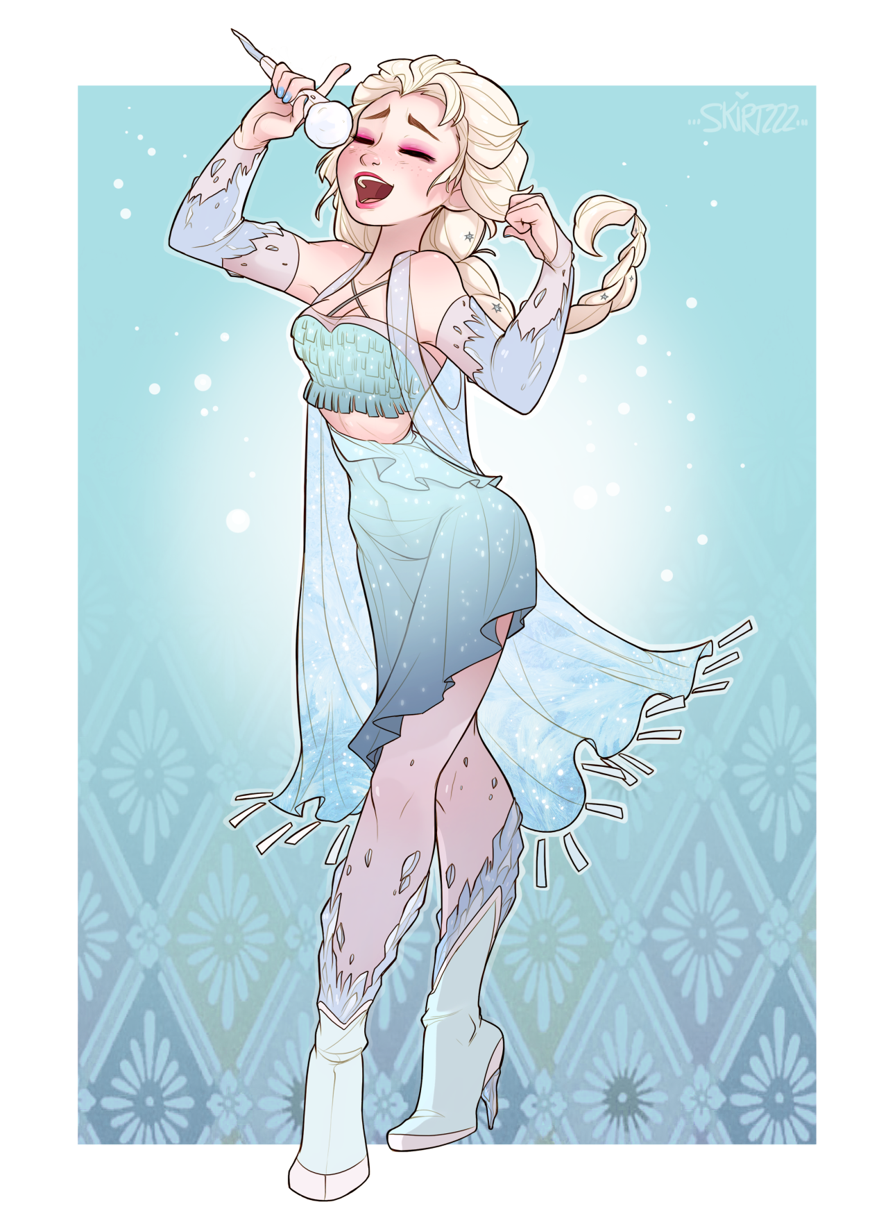 I Hear Your Voice Calling Out To Me You Ll Never Let It Go What Can I Freeze For You Elsa Songstress Disney Frozen Elsa Disney Fan Art Disney Art
