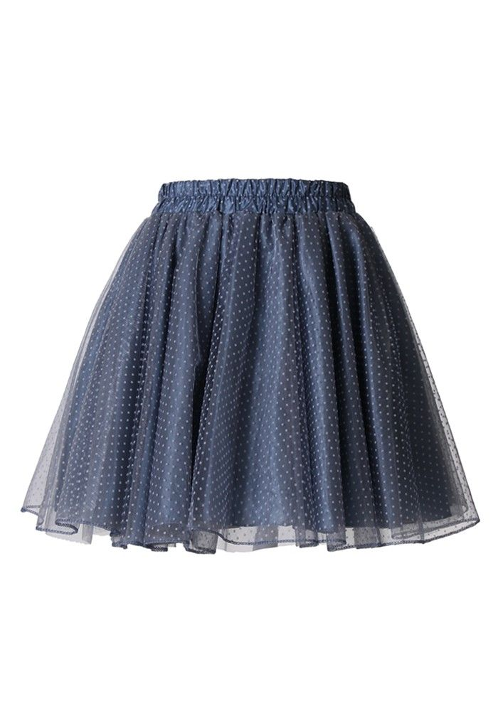 Tulle Polka Dots Skater Skirt  Chiffon/silk lining in either a dark plain or a bright pattern, with a transparent topping.