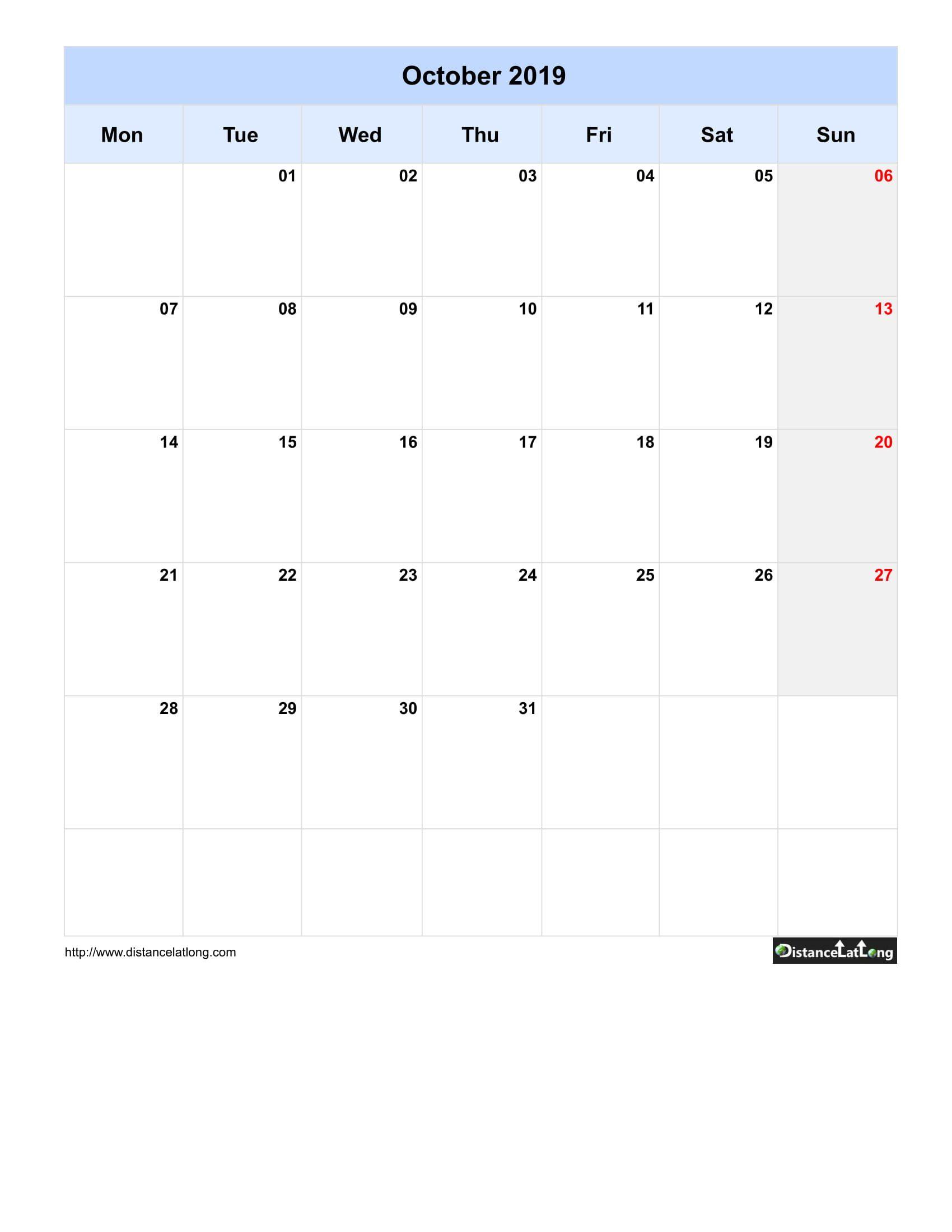 Monthly Blank Calendar Portrait Orientation Free