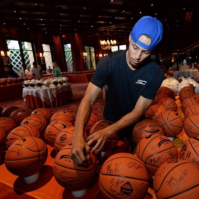 Warriors Youth Basketball Camp: Stephen Curry Fulfilling Autograph Duties As USA
