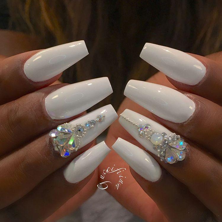 White Coffin Nails W Iridescent Rhinestones White Acrylic Nails Coffin Nails Designs White Coffin Nails