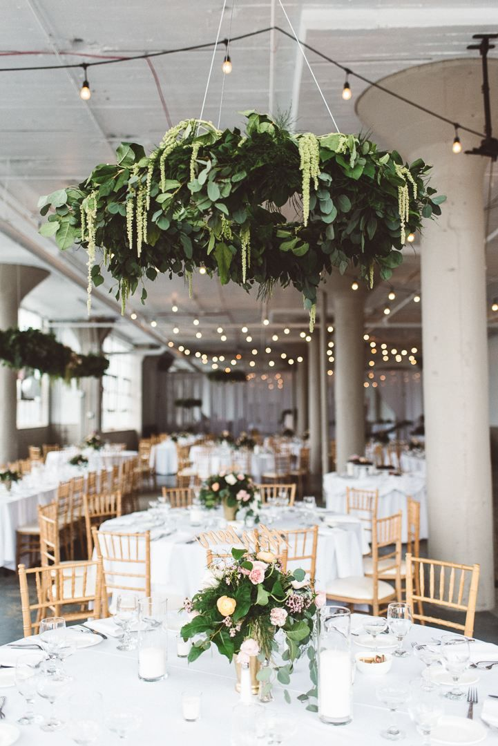 AMAZING hanging florals at the Lake Erie Building in