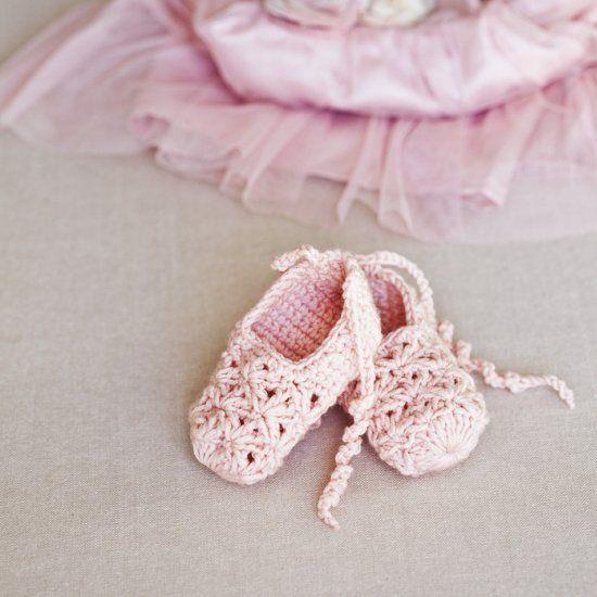 gehäkelte (echte) Babyballerina-Schühchen | Babyschuhe und Booties ...