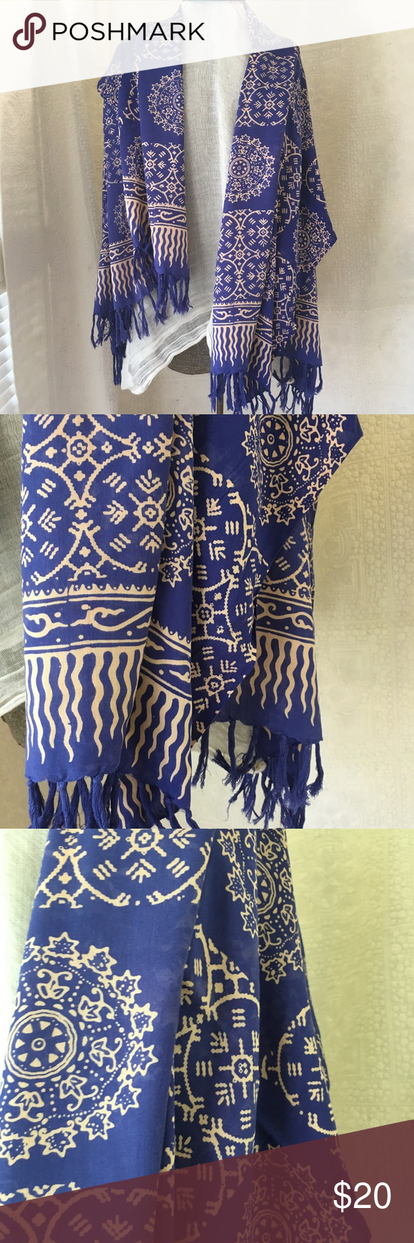Rayon Batik Shawl Scarf Blue Peach Oversized I love Batik Shawls!  The prints are so gorgeous. This one is no exception!  Measures 46 x 62 inches  Periwinkle blue with soft pink/peach/blush Accessories Scarves & Wraps