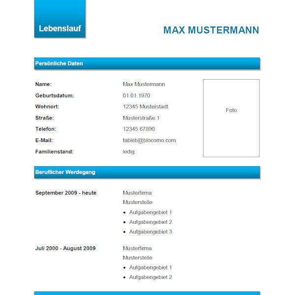 Modern CV, blue - Moderne Lebenslauf-Vorlage, blau. | Lebenslauf ...